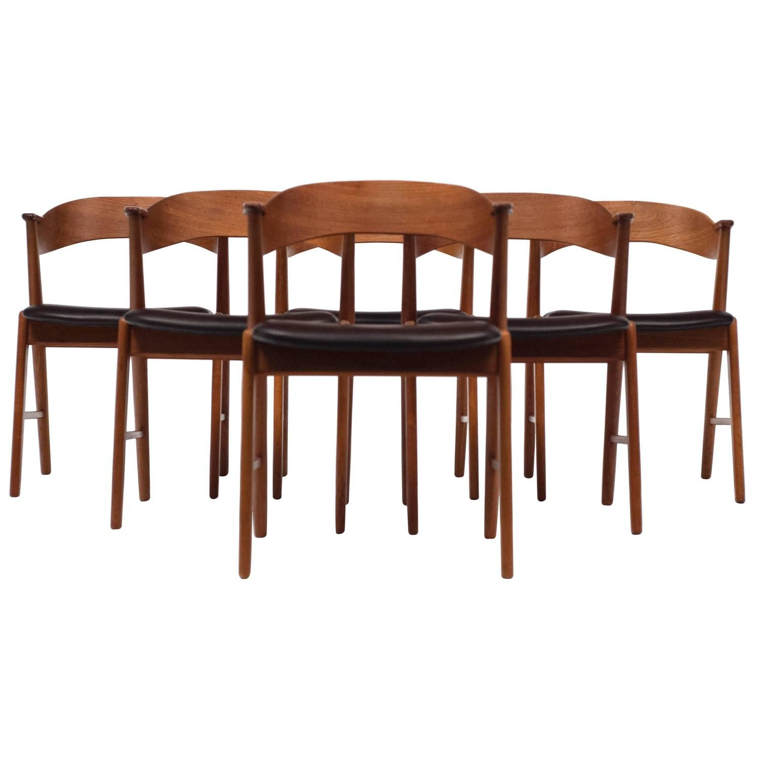 view this item and discover similar dining room chairs for sale at set of six teak dining chairs by danish designer kai kristiansen - Set Of Six Dining Room Chairs