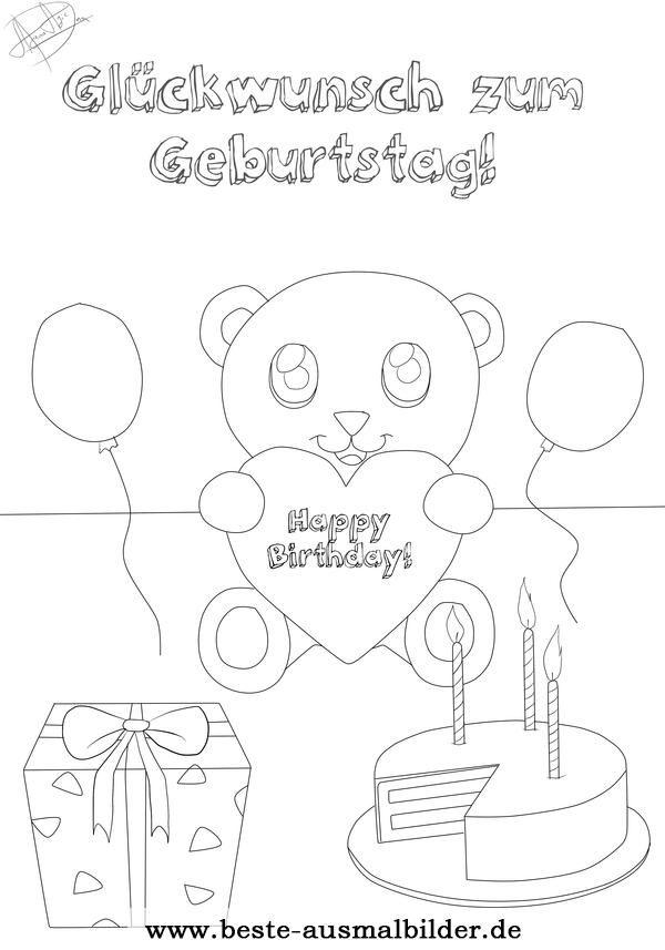 Ausmalbild kostenlos zum Geburtstag | ausmalbilder | Pinterest
