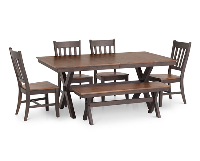 Lighter Color Avail Hudson Park 5 Pc 72 X Base Rectangular Dining Room Set Furniture Row