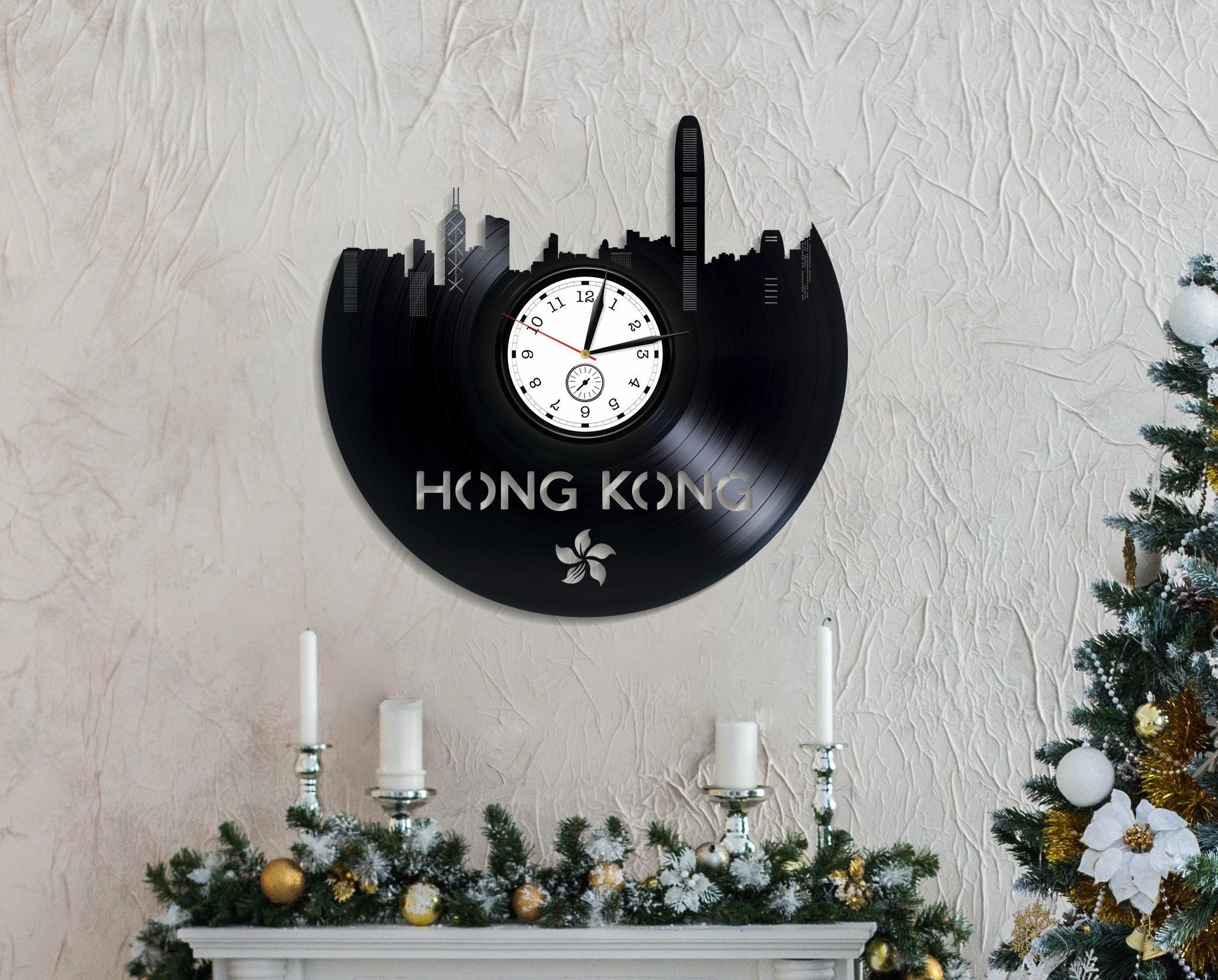 Hong Kong City Art Birthday Gift For Her Wall Clock Modern Travel Room Lp Retro Vinyl Record Vintage By DforDream On