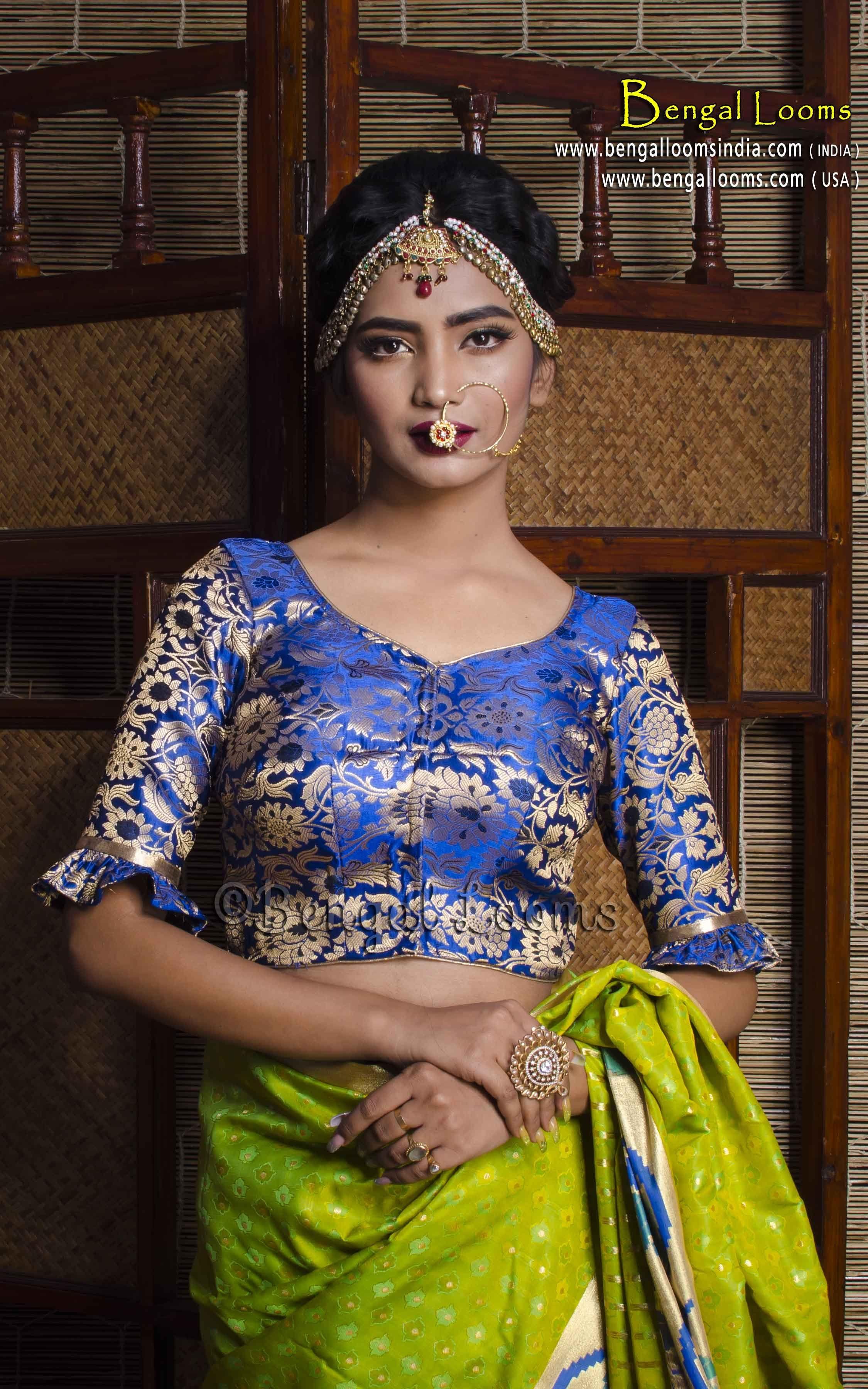 a228e0c8da4ca Royal Blue Banarasi Silk Saree Blouse in Size 38
