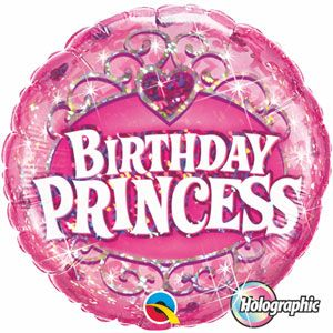 Party Balloon Princess Birthday Holographic 45cm Pink Foil Decorarion