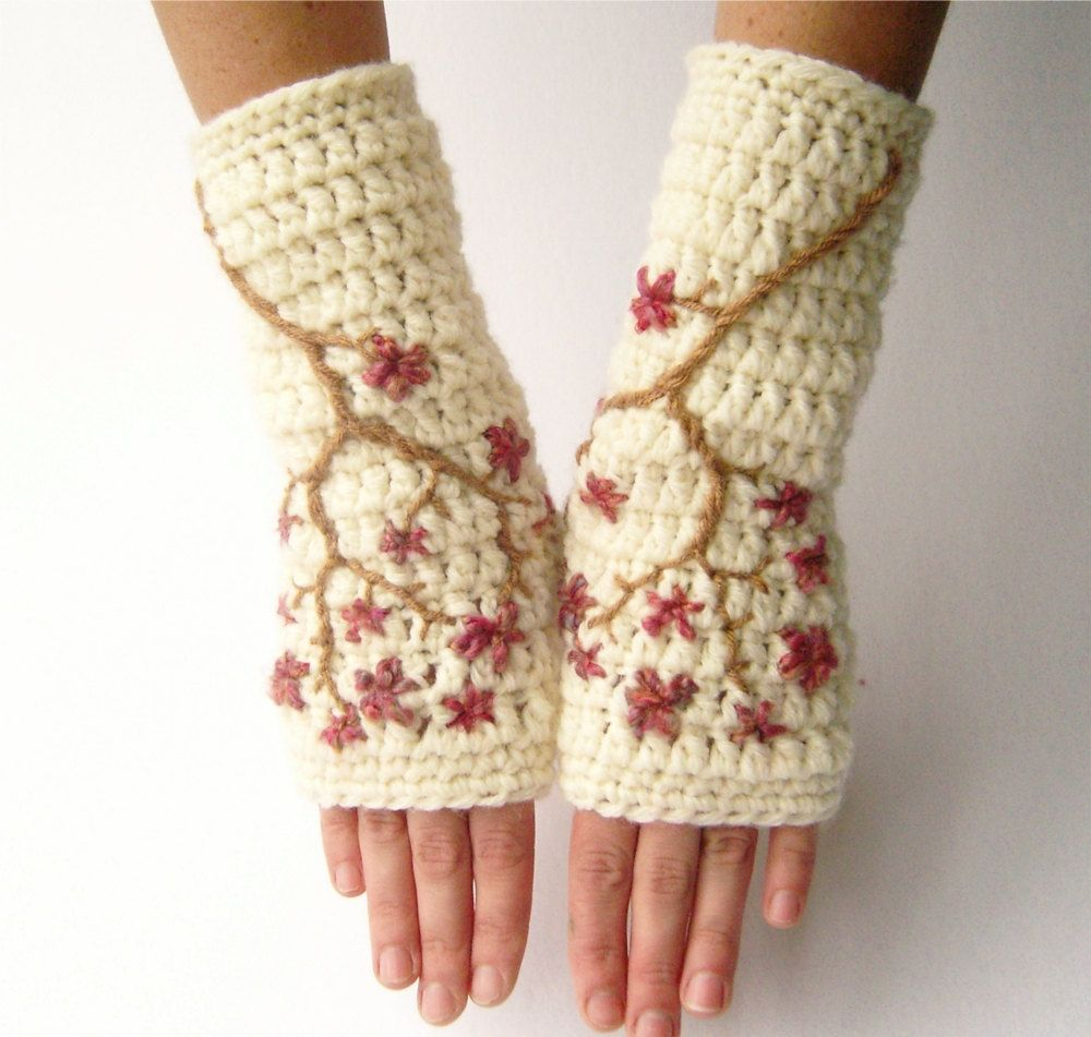 Superwash Wool Cherry Blossom Fingerless Gloves - Cream and Pink ...