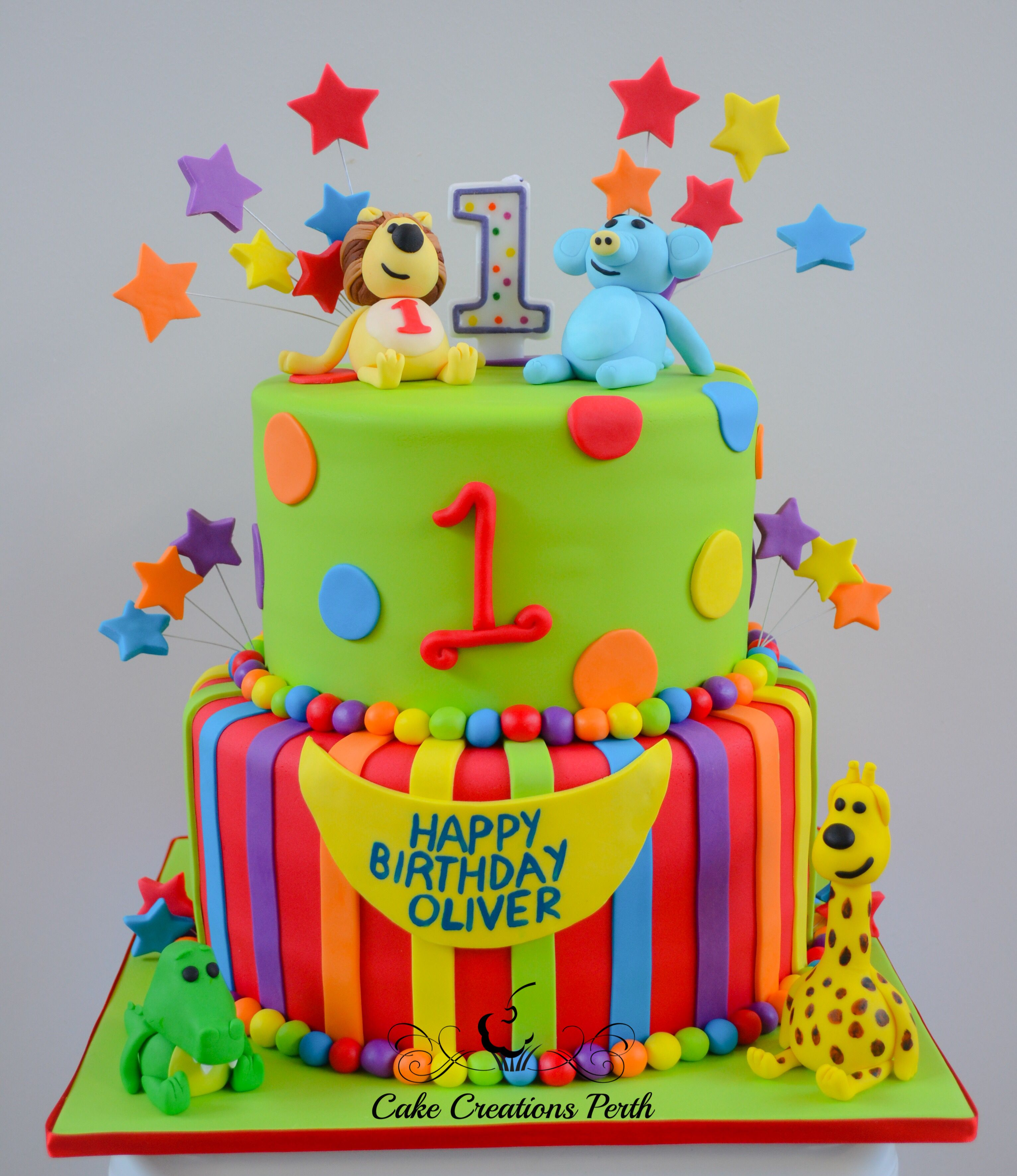 Raa Raa 1st Birthday Cake. Based on a design by the Pink