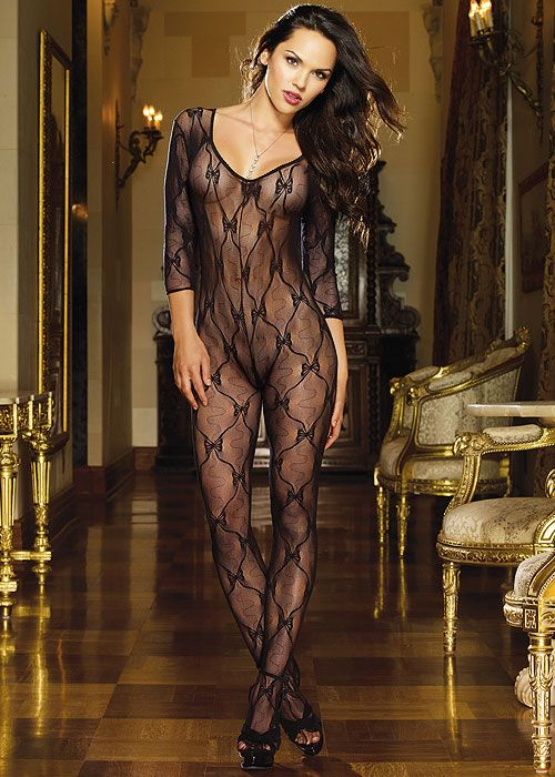 c6ba39d40b5 Dreamgirl Three Quarter Sleeve Lace Bodystocking