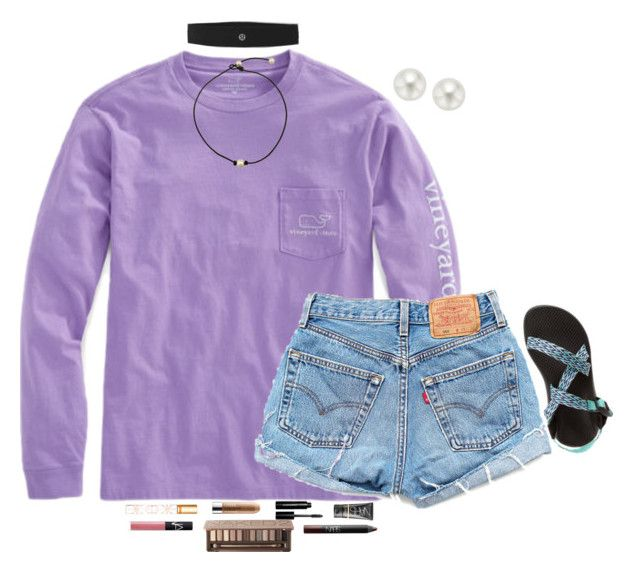 """""""Do girls at your school dress preppy?"""" by kvonhoffmann ❤ liked on Polyvore featuring Levi's, Chaco, Tory Burch, lululemon, Pearlyta, Clinique, Bobbi Brown Cosmetics, NARS Cosmetics and Urban Decay"""