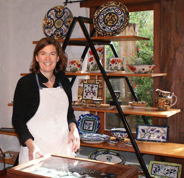 Mary-lou Pittard in her Studio. Mary-lou Pittard is a professional Potter who has been working since the early 80's. She is widely known for her highly decorative functional stoneware, often inspired by the plants in her garden.