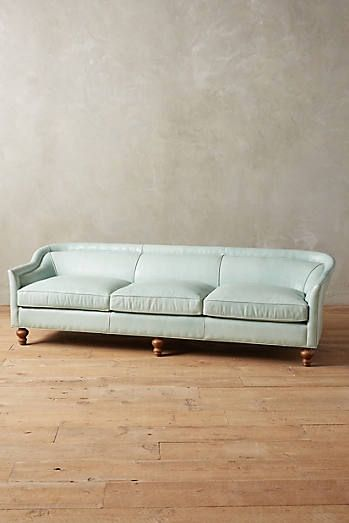 Seafoam Leather Sofa, Tight Back Premium Leather Holloway Armchair