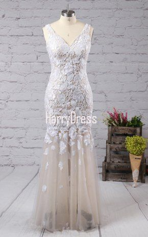 Ivory Trumpet Mermaid V Neck Tulle Floor Length Appliques Lace Long Prom  Dress
