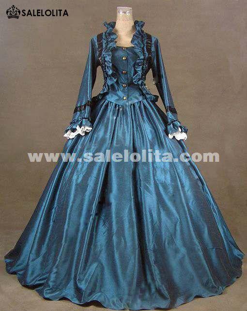4d1a0f0c1ff4 2016 Noble Blue Long Sleeve Medieval Civil War Victorian Dress Renaissance  Gothic Victorian Ball Gowns