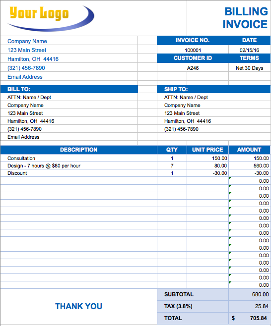 Free Excel Invoice Templates  Smartsheet  Business