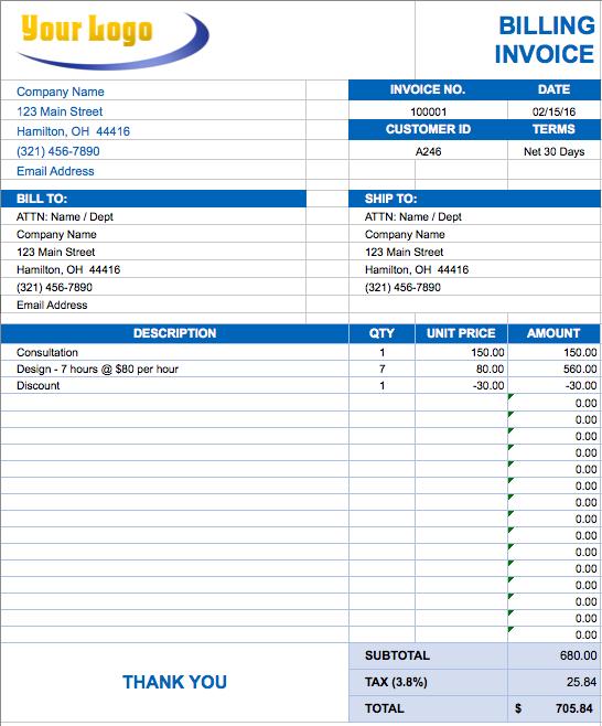 Free Excel Invoice Templates Smartsheet Invoice Template Word Invoice Template Invoice Format In Excel