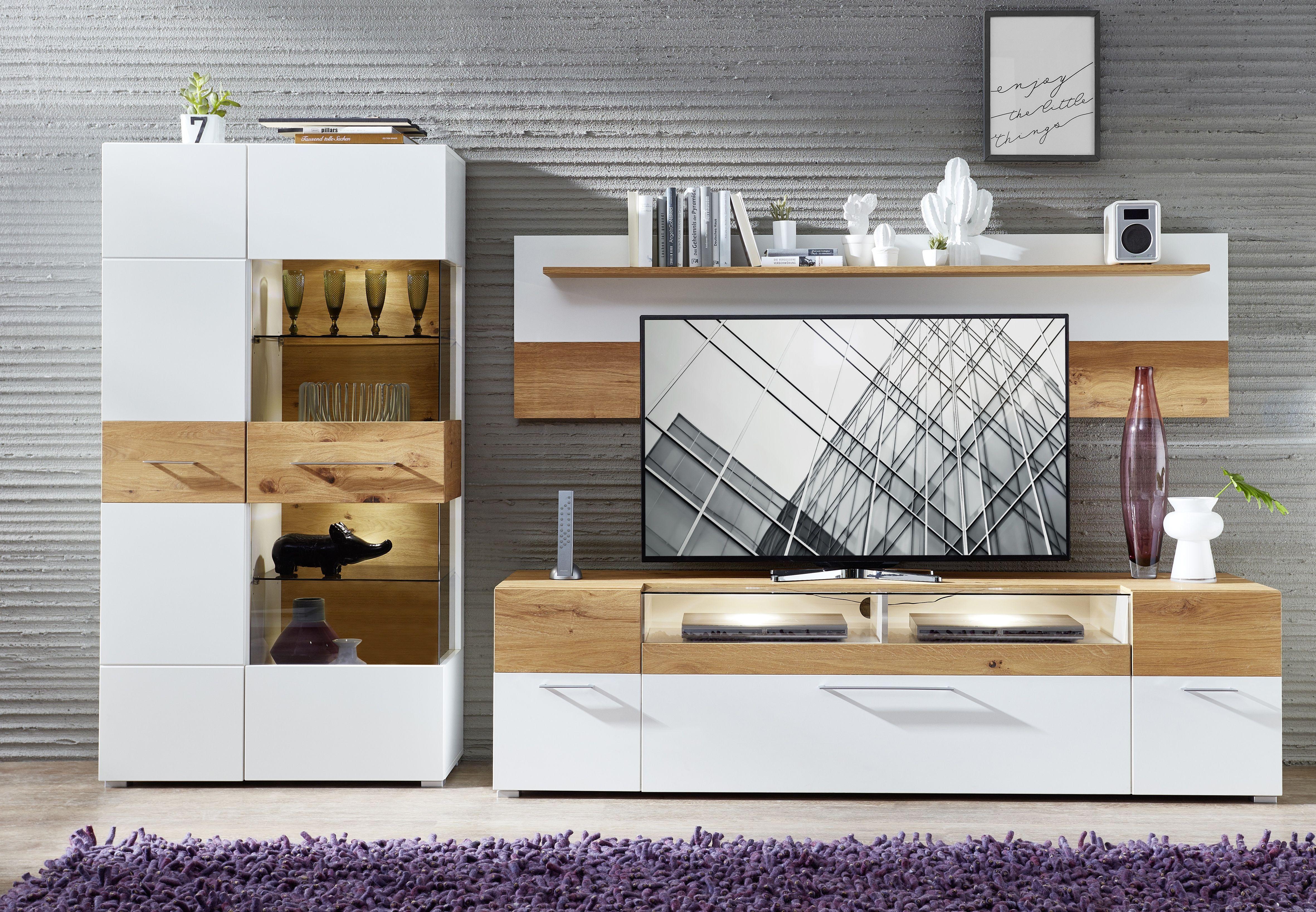 Wohnwand Weiss/ Wildeiche Mit Beleuchtung Woody 22 01030 Holz Modern Jetzt  Bestellen Unter: