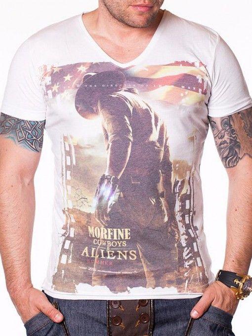 Tricou barbati Morfine Cowboys & Aliens alb
