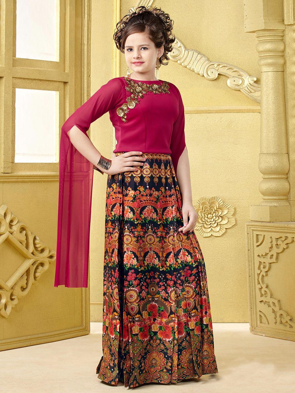 bfb8377b2 Printed Party Wear Silk Black Lehenga Choli | outfit | Kids lehenga ...