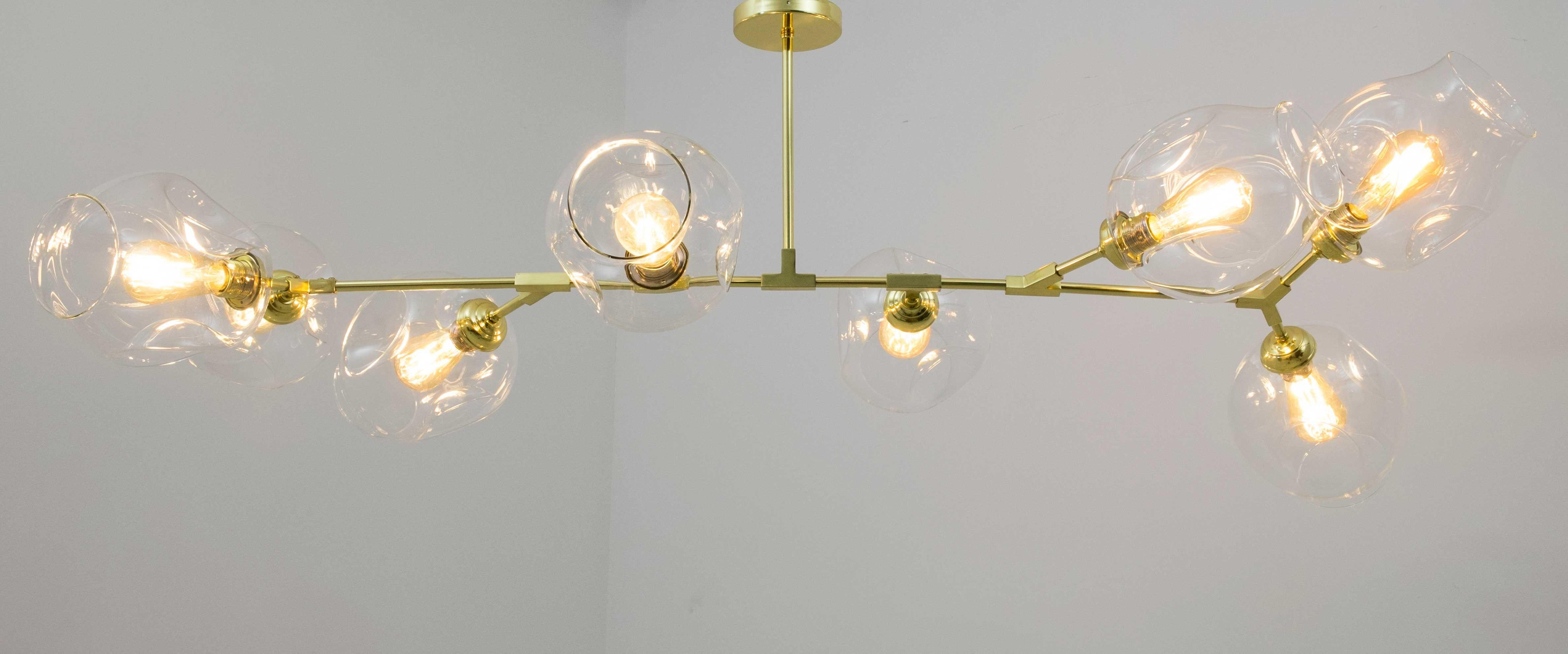 Lámpara de techo vintage con tulipas de cristal Leticia