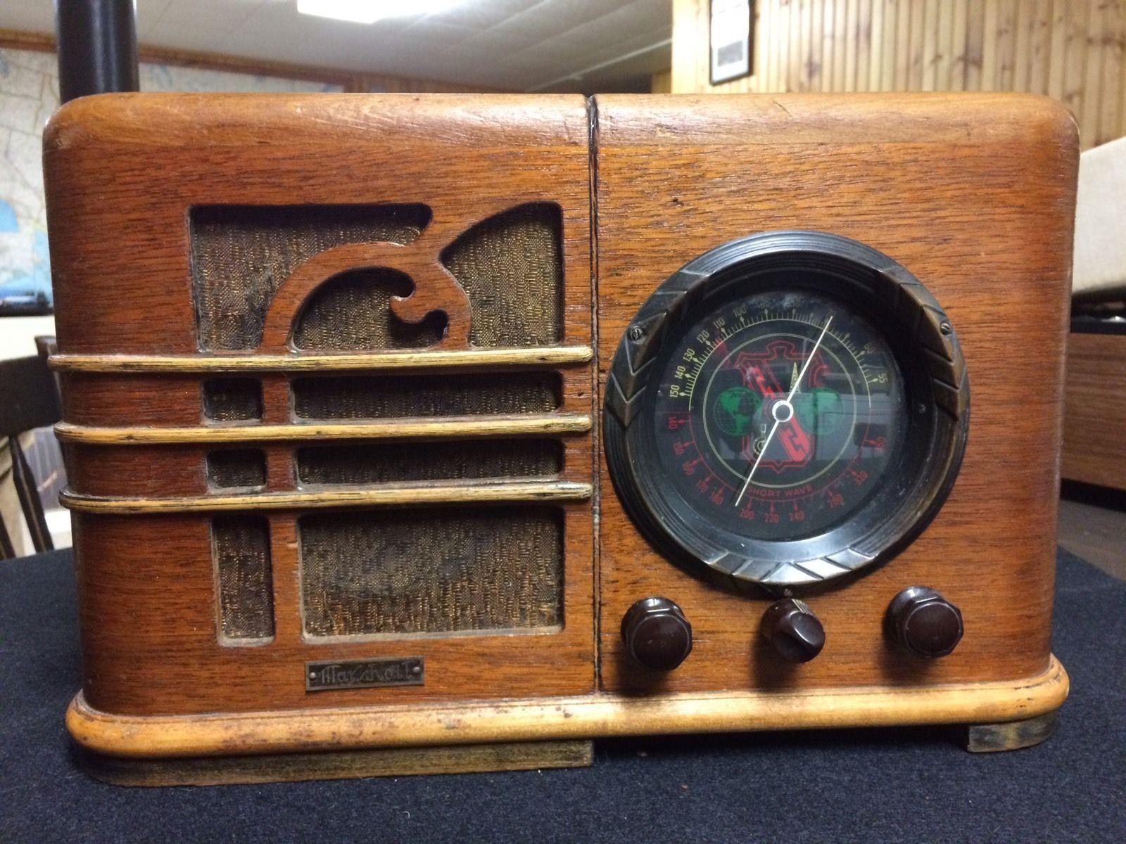 Marshall Antique Am Amp Shortwave 2 Band Art Deco Wooden Old Radio 039 30s No Cord Ebay Vintage Radio Radio Design Old Radios