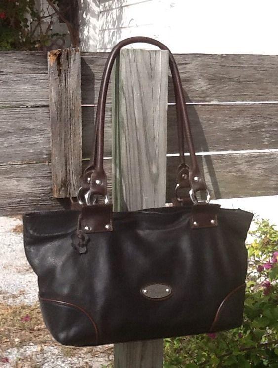 Cristina Italy Blk/Brn Leather Everyday Shopper Shoulder Bag Vgc L@@K! #ShoulderBag
