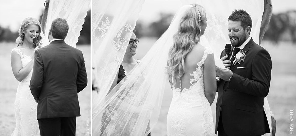 Raffaele Ciuca real bride Caitlin wore our stunning Tamar wedding dress by Pronovias  for her wedding in Laharum, Victoria.  Photography – Thea Jane Photography