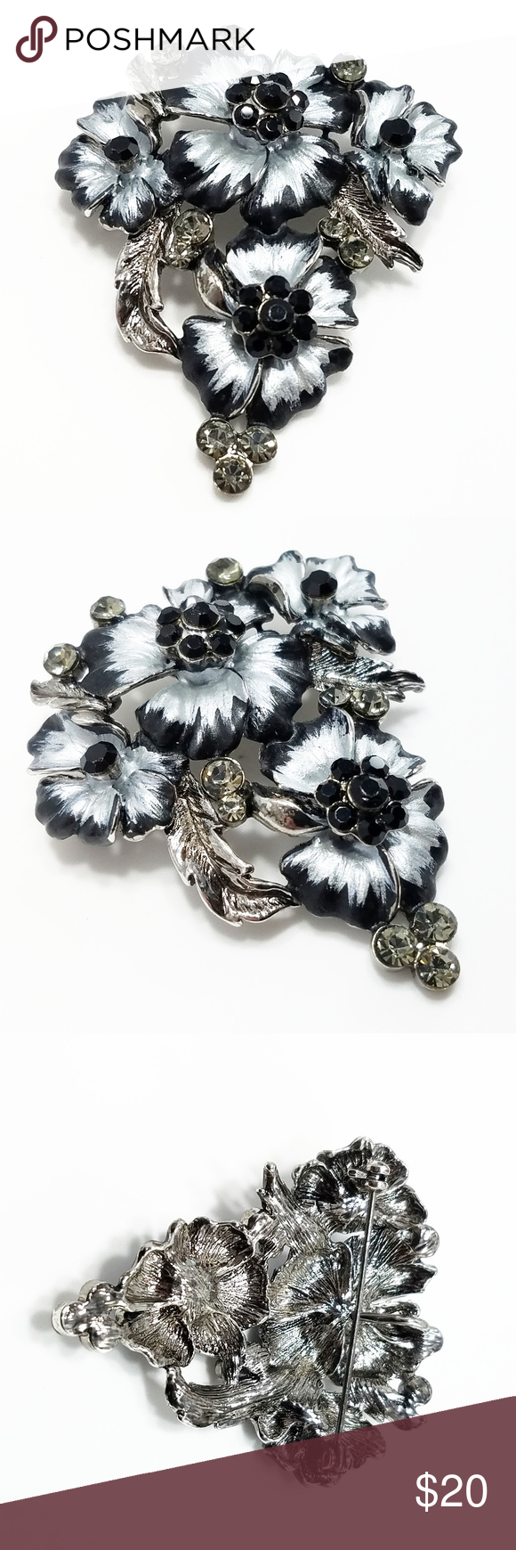 Floral broochpendant  of rhinestone and silver