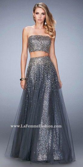 Two Piece Cascading Beaded Prom Dress By La Femme #edressme | PROM ...