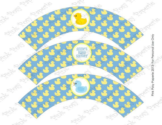 Printable Rubber Ducky Boy Baby Shower Cupcake by PinkPosyPaperie