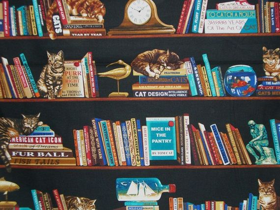 Cats in the Library Print Cotton FabricOne by fabricsandtrimmings, $9.79