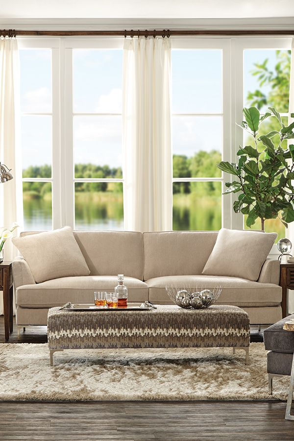 Avery's Chair Covers And More Pads Under Legs The Avery Sofa Features An Amazingly Soft Linen Colored Fabric That Collection Either A Charcoal Or Both Colors Stunning Against Chrome Finished Amazing Leather Accent