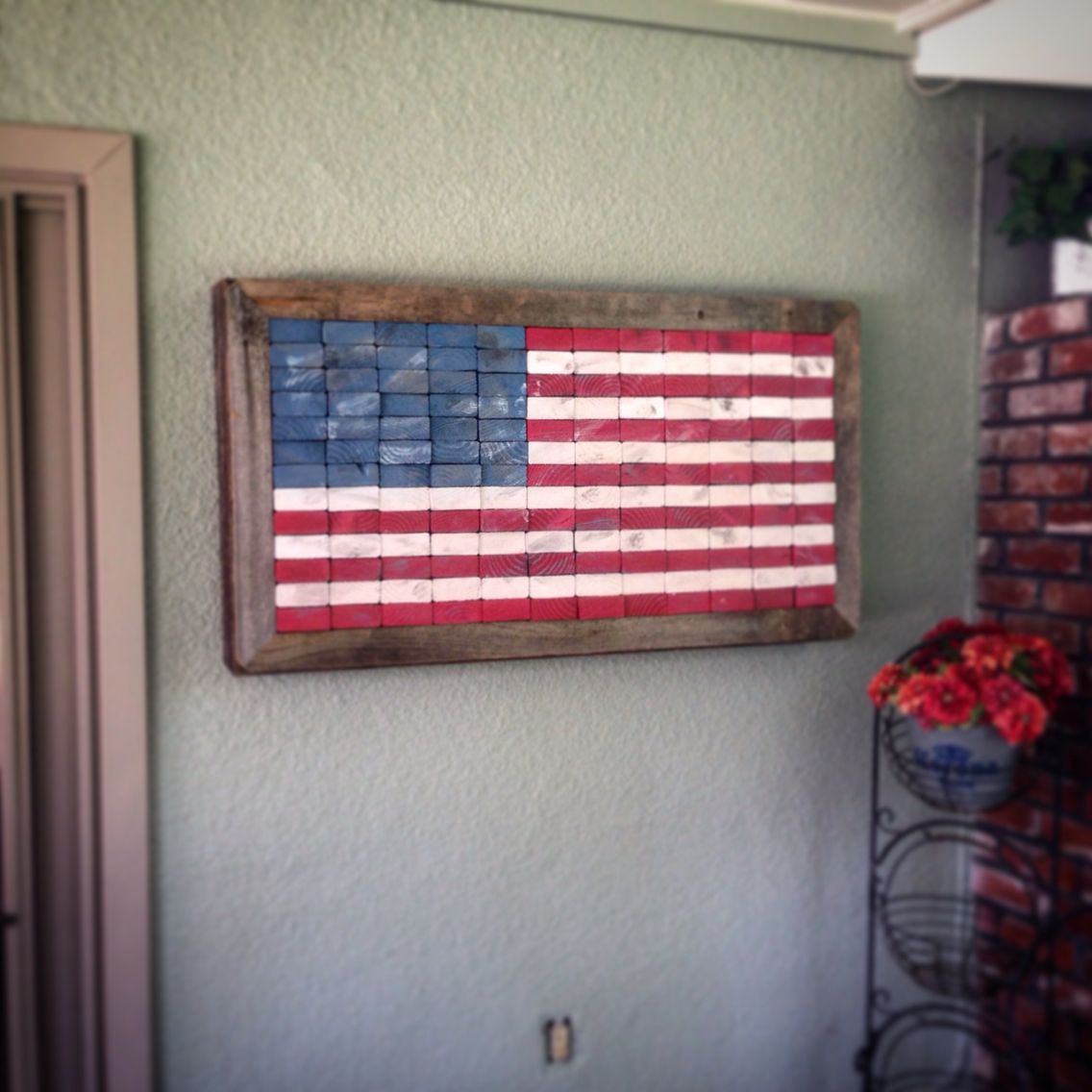 Reclaimedrepurposed 2x4 american flag framed with 30 year old reclaimedrepurposed 2x4 american flag framed with 30 year old fence boards baanklon Image collections