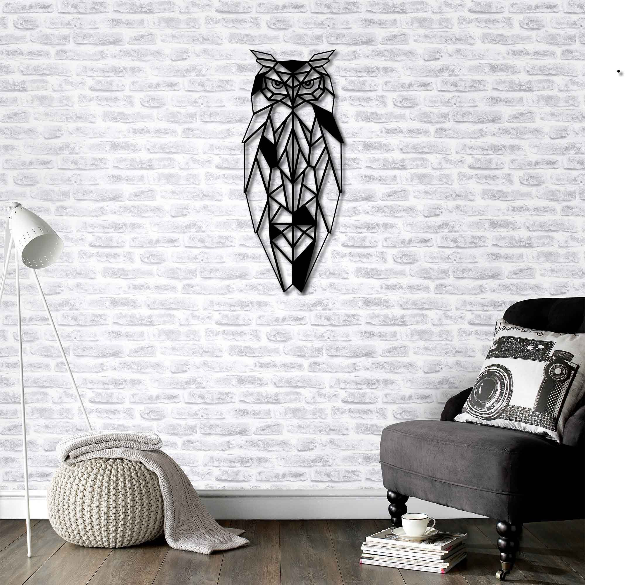 Metal Wall Art Geometric Owl Wall Decor Interior Decoration Etsy In 2020 Owl Wall Decor Wall Decor Design Metal Wall Art Decor