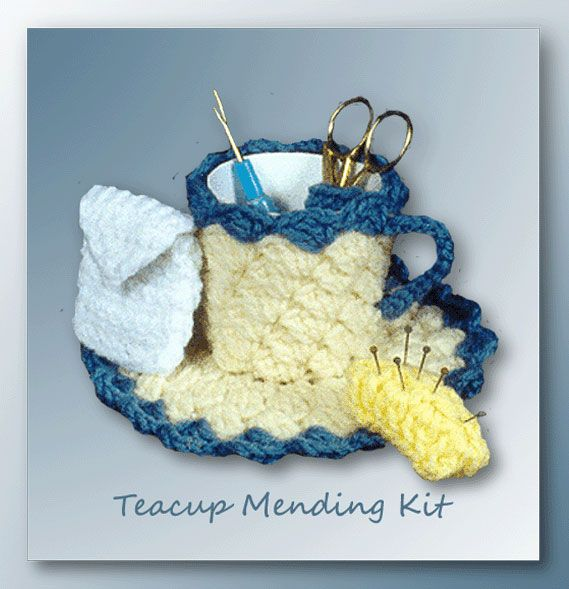 Teacup Mending Kit | Crochet - Pincushions & Sachet | Pinterest