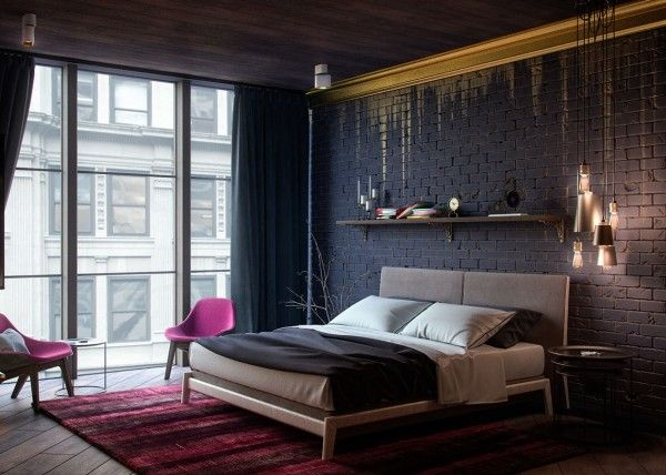Apartment bedroom from alex koretskiy the gold wall treatment with shimmering paint dripping down
