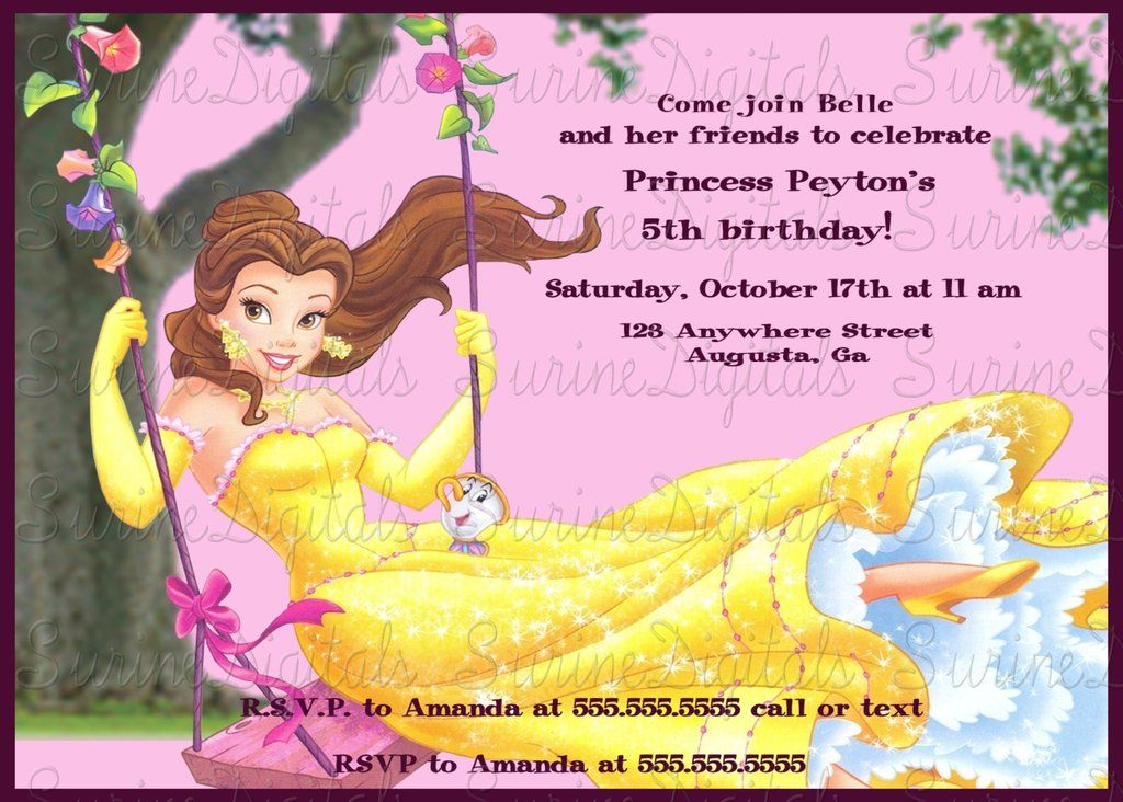 Princess belle swinging birthday party invitation girls princess princess belle swinging birthday party invitation girls princess party invite filmwisefo Images