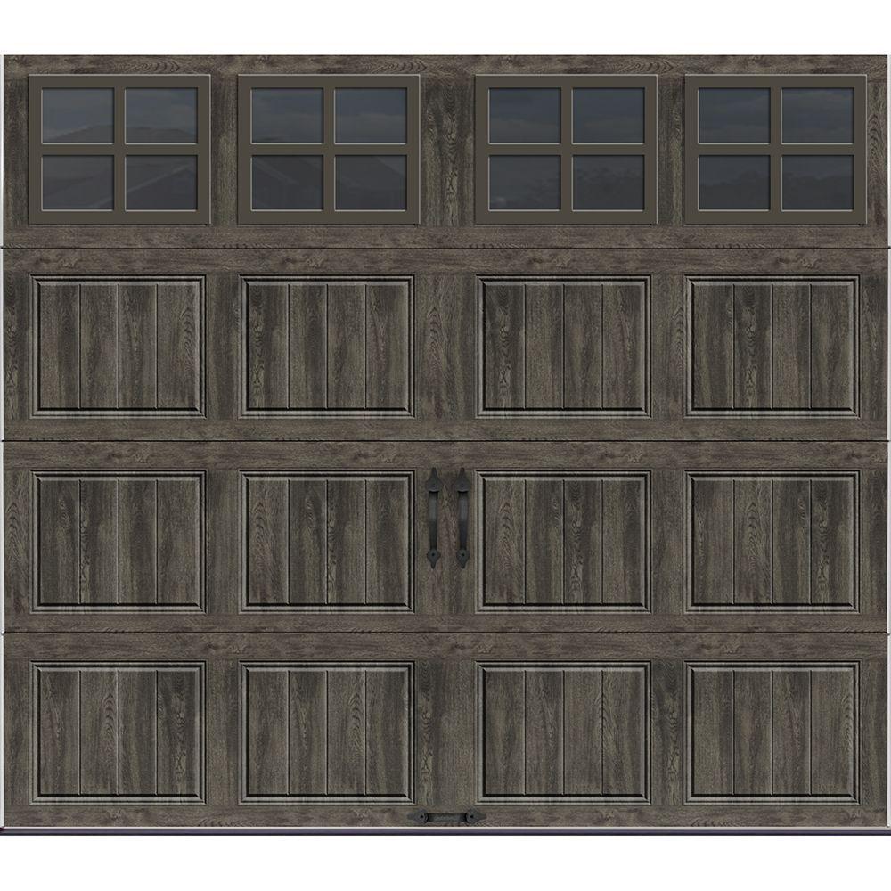 Gallery Collection 8 Ft X7 Ft 6 5 R Value Insulated Slate Garage Door With Sq22 Window In 2020 Garage Door Design Garage Doors Faux Wood Garage Door
