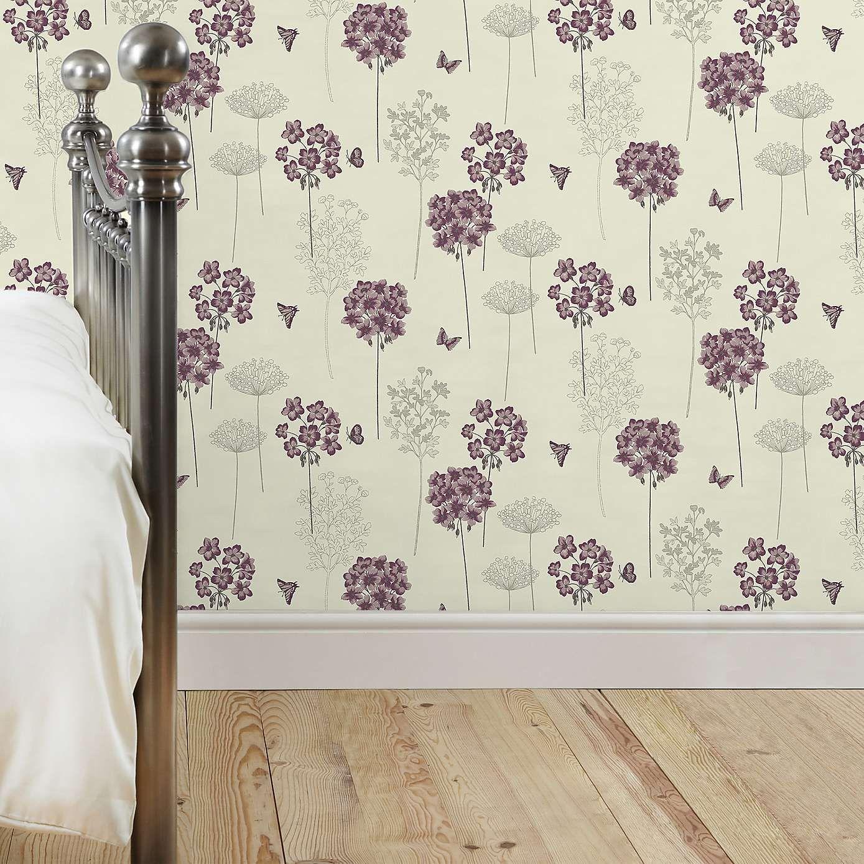 Home diy wallpaper illustration arthouse imagine fern plum motif vinyl - Hydrangea Wallpaper Plum Dunelm