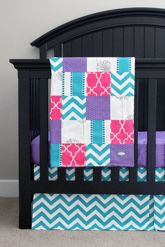 Custom Crib Bedding Purple Pink Turquoise And By Gigglesixbaby With Images Crib Bedding Girl Baby Girl Bedding Baby Girl Crib Bedding