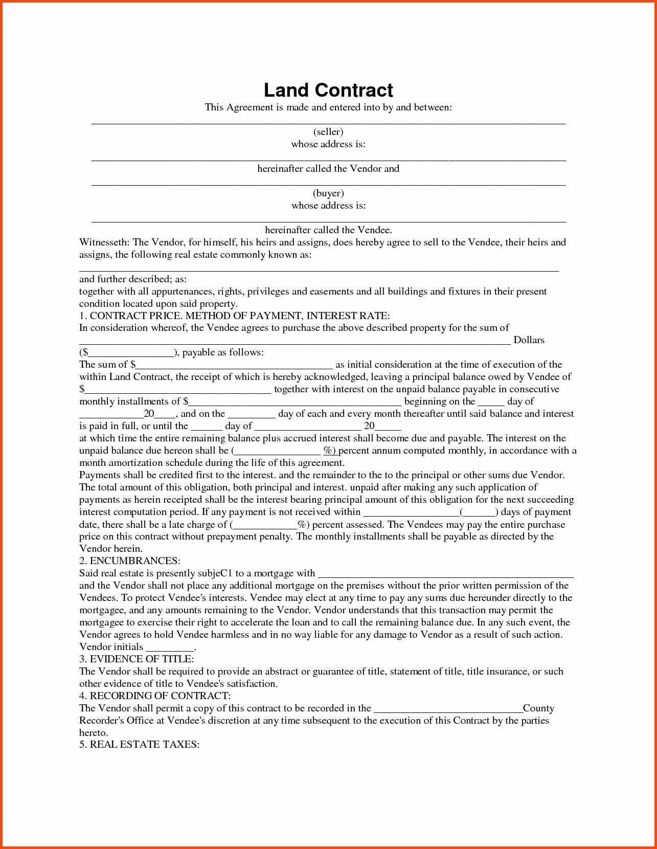 Land Contract Template Ohio Awesome Contract Inspiration Land Contract Form Land Contract Form Contract Template Contract Templates