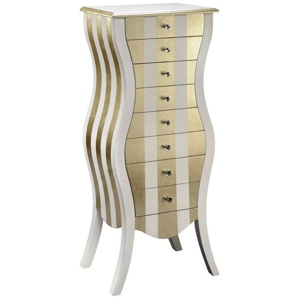 Gold U0026 White Curvy Jewelry Armoire By Timber Lane Furniture