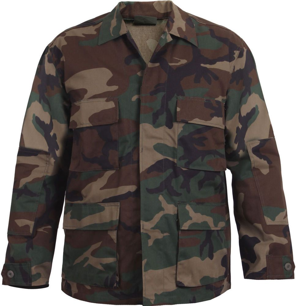 Mens Woodland Camouflage Military BDU Shirt Tactical Uniform Coat Army  Fatigues  Rothco  BDUShirt 57392c2d4c5