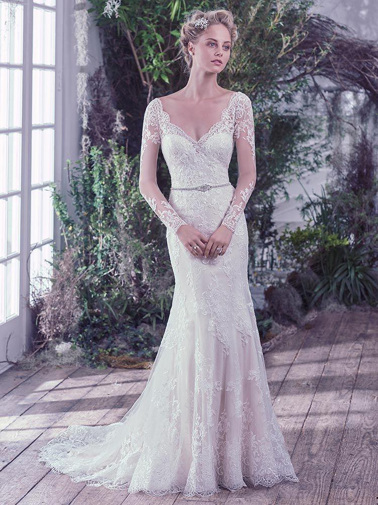 Maggie Sottero Roberta Maggie Sottero Wedding Dresses Wedding Dress Long Sleeve Sheath Wedding Dress Lace