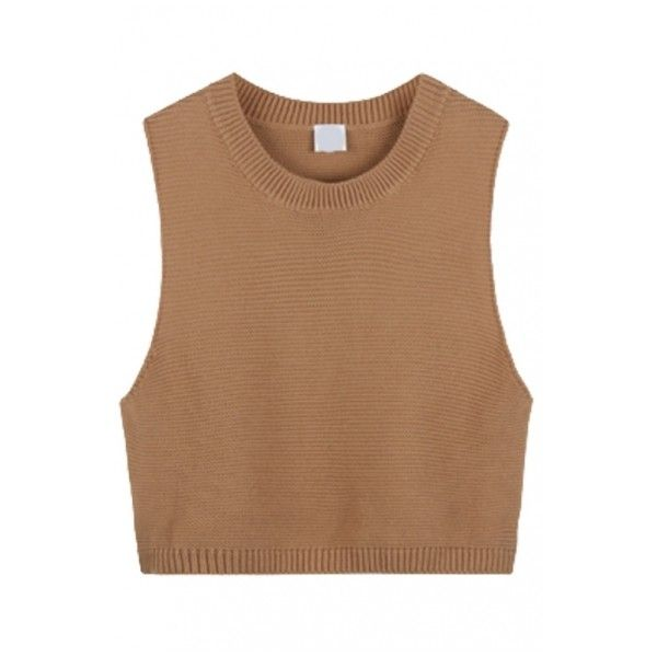 Round Neck Sleeveless Cropped Plain Knit Vest ($15) ❤ liked on Polyvore featuring tops, crop top, shirts, tank tops, cropped vest, sleeveless vest, knit shirt, knit vest and beige crop top