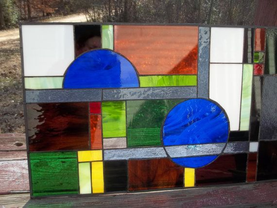"""To hang in kitchen window. Geometric Gone Wild 29 1/2""""x17 1/2"""" Stained Glass Panel Special Order"""
