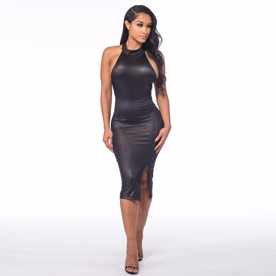 Sexy-Damen-Kunstleder-Kleid-Wetlook-Clubwear-Partykleid-Gr-M ...