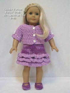Crochet Pattern PT27 for 18' Dolls Dress Jacket Shoes Fits American Girl Dolls | eBay.