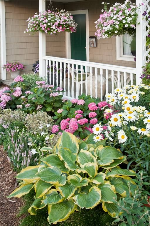 Beautifully planted front porch