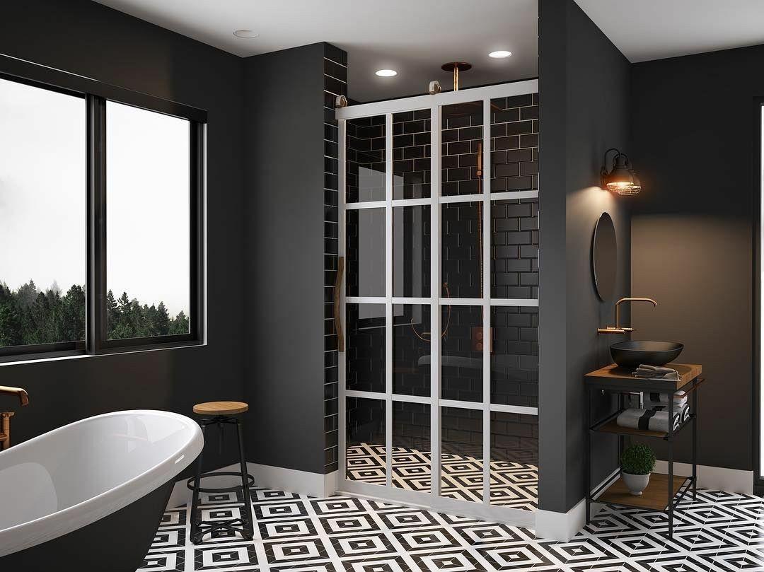 Gridscape Eclipse Shower Door Designed With Barn Door Style Rollers Ideal For Industrial Modern And Modern Shower Doors Farmhouse Shower Shower Door Designs