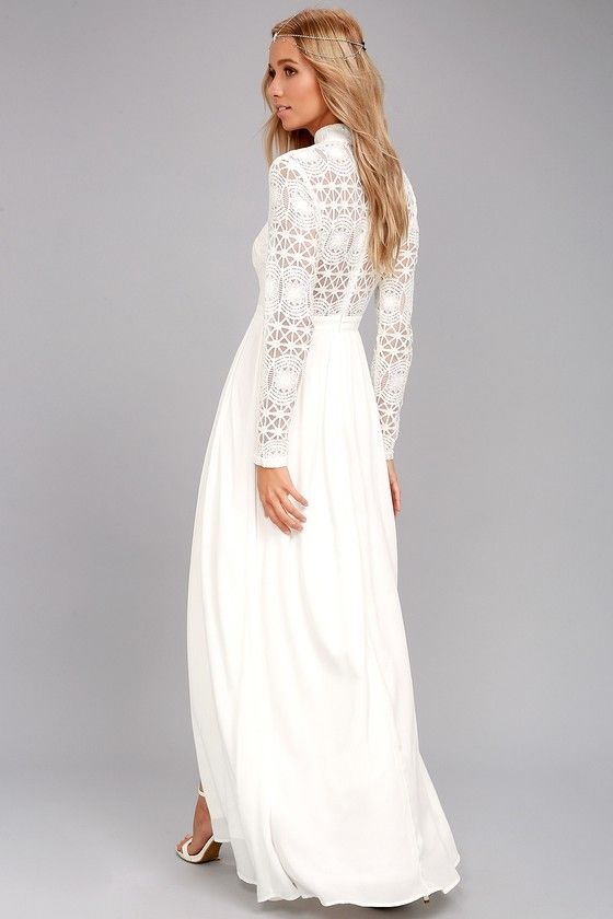 In Dreams White Long Sleeve Lace Maxi Dress Long Sleeve Lace Maxi Dress Lace Maxi Dress White Dress Long Casual