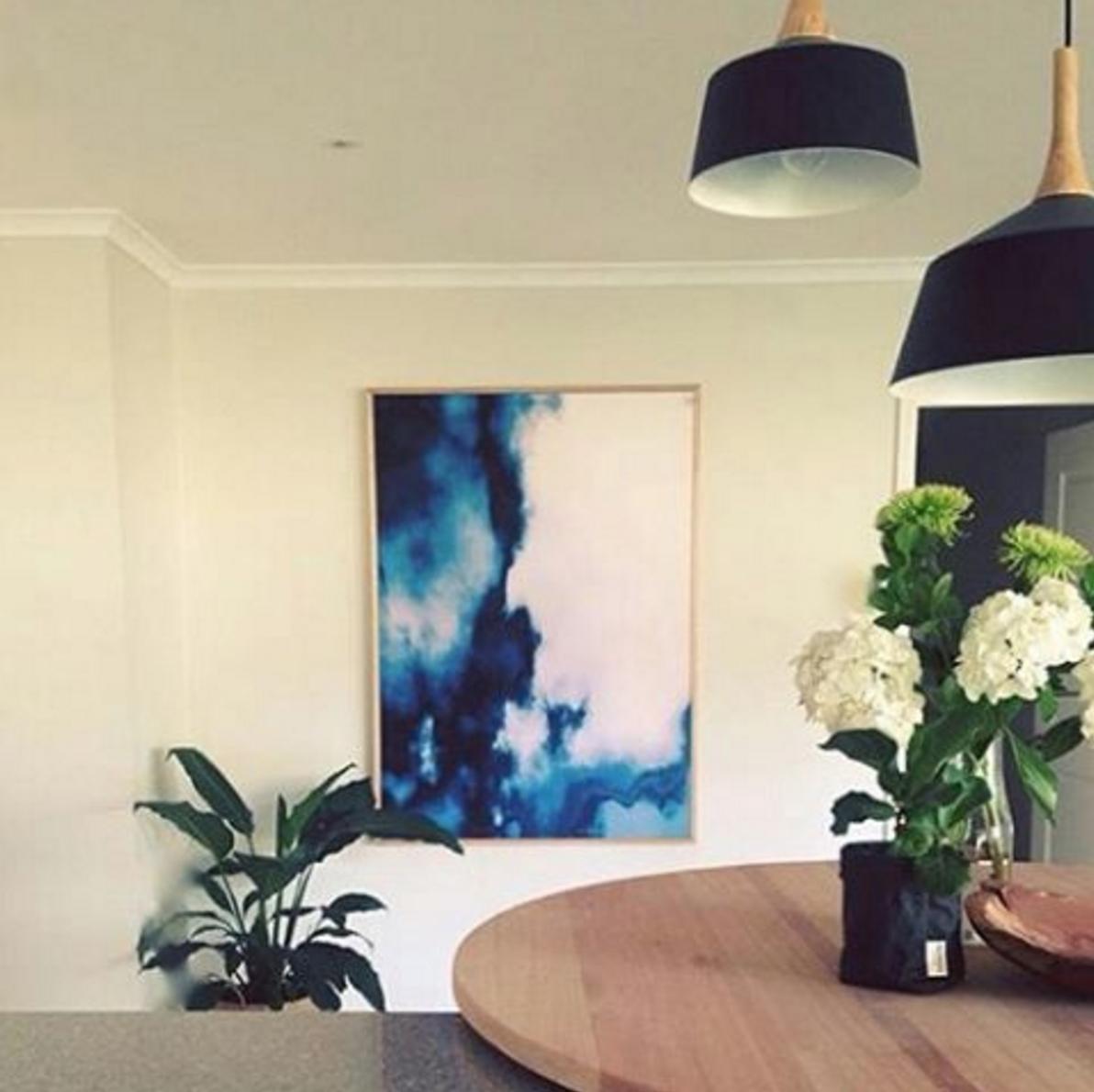 Our 'Blue Mist' canvas print in the beautiful home of our stylish customer Rachael.  http://www.unitedartworks.net/artwork/alisa-lysandra/blue-mist-original-art