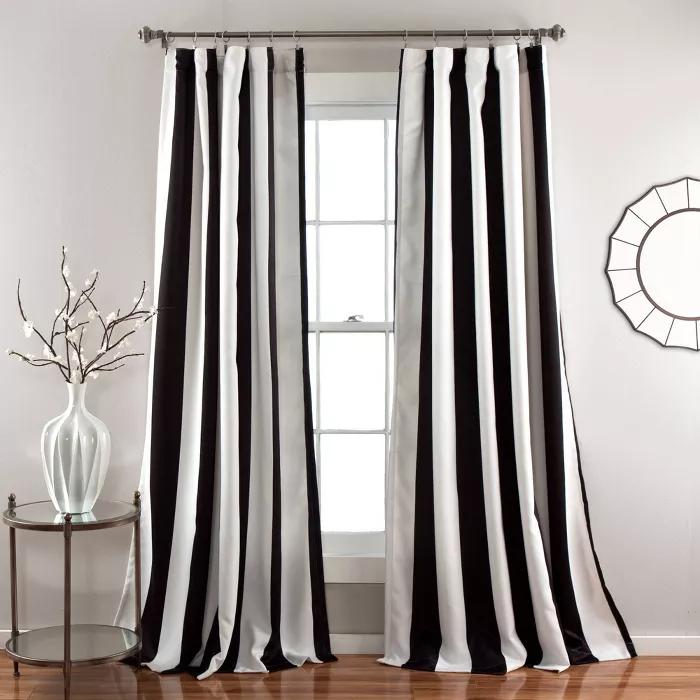 Set Of 2 Wilbur Room Darkening Window Curtain Panels Lush Decor Striped Room Lush Decor Room Darkening