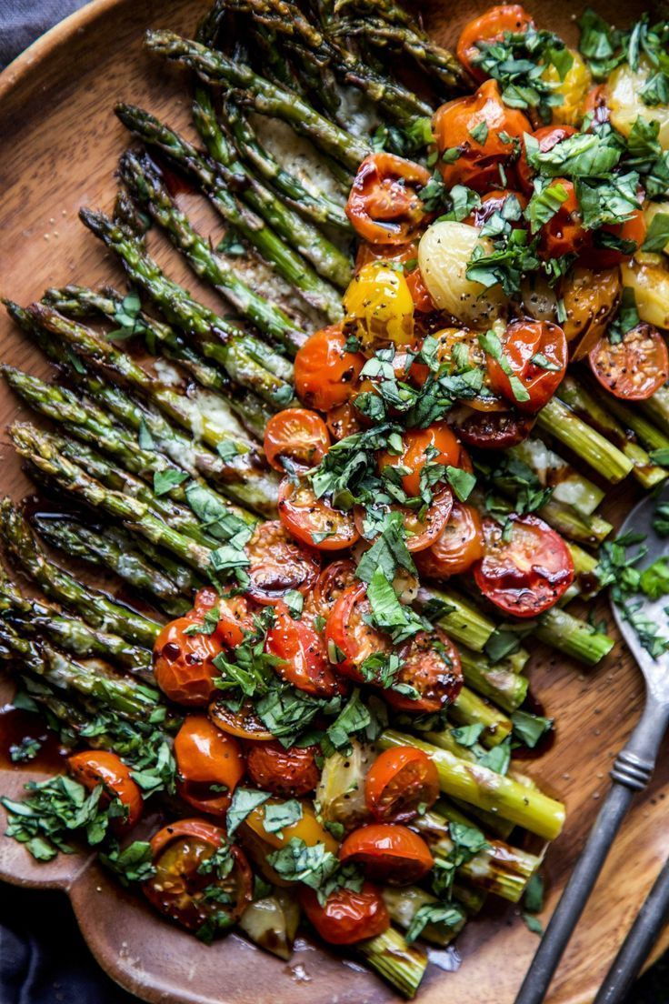 Caprese Roasted Asparagus - Climbing Grier Mountain   Recipe   Vegan asparagus recipes, Recipes, Vegetable dishes